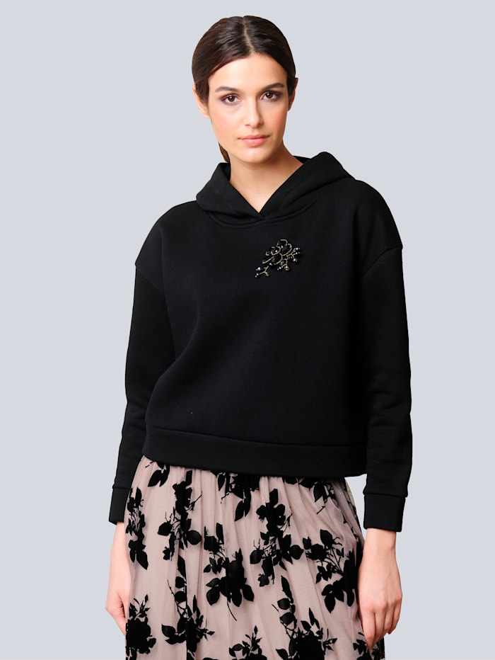 Alba Moda Sweatshirt in modischer Boxy-Form, Schwarz