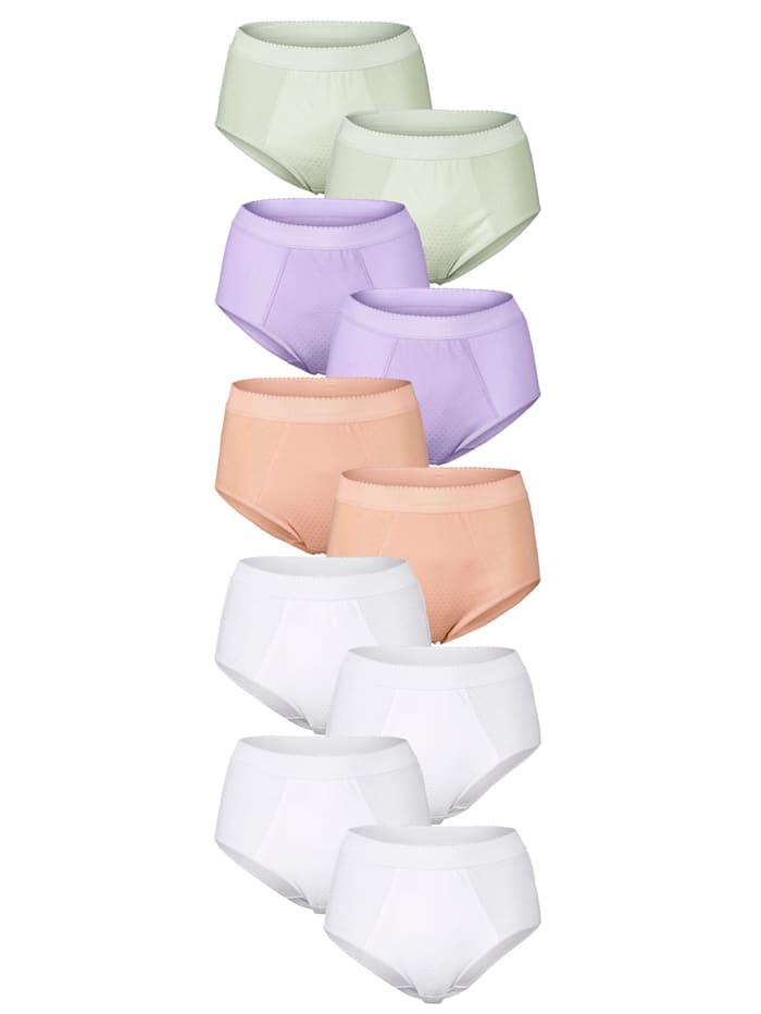 Simone Taillenslips im 10er-Pack mit Bauchweg-Funktion, Flieder/Lindgrün/Apricot/Weiß