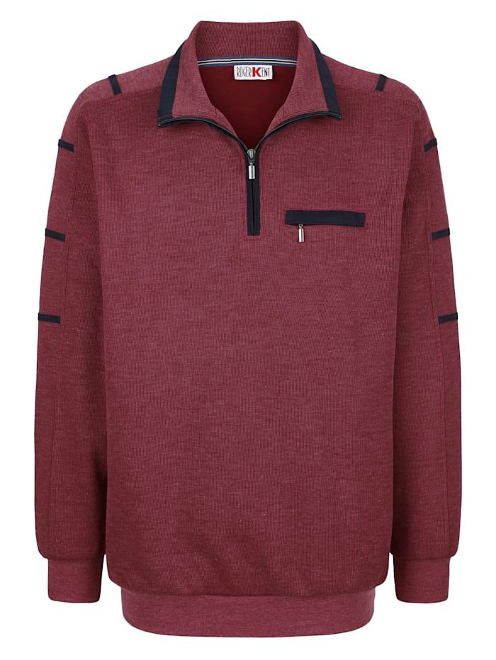Roger Kent Sweatshirt mit Kontrastverarbeitung, Rot