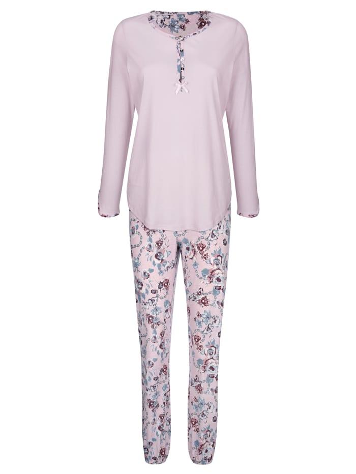 Simone Pyjama à encolure ronde imprimée et patte de boutonnage, Rose clair/Bleu fumée/Bordeaux