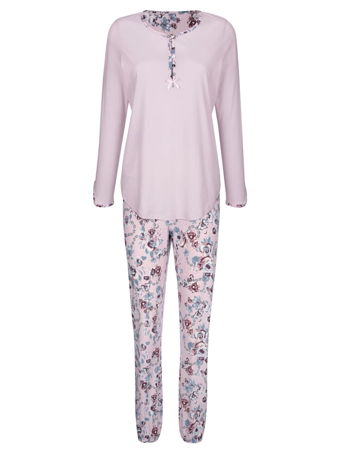 Simone Pyjama met gedessineerde ronde hals en knoopsluiting, Lichtroze/Rookblauw/Bordeaux