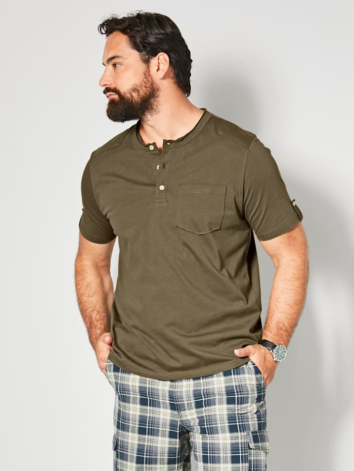 Men Plus T-Shirt aus reiner Baumwolle, Oliv
