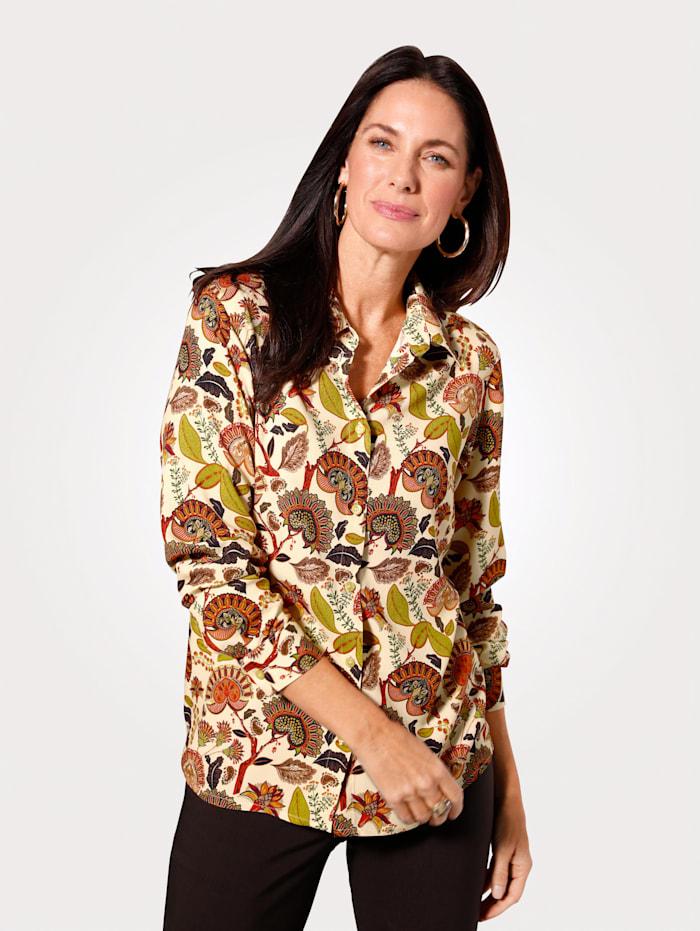 MONA Bluse mit modernem Paisleydessin, Natur/Terracotta