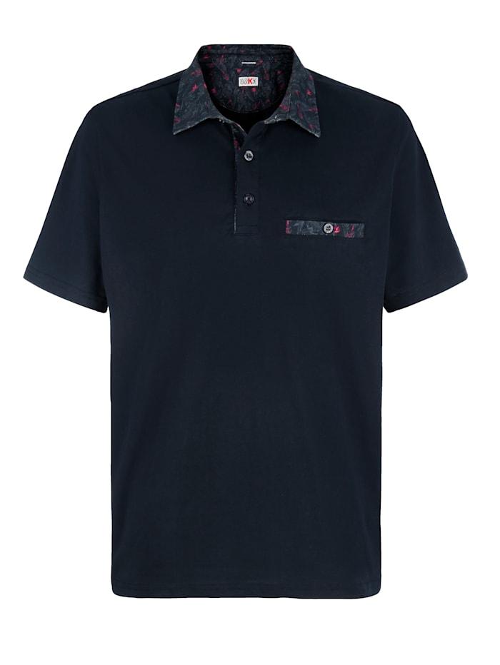 Roger Kent Poloshirt mit Blumendruck an Kragen und Brusttasche, Marineblau