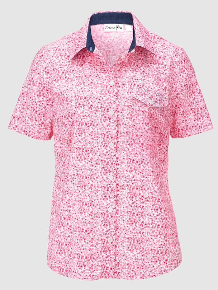 Blus med tryckt mönster