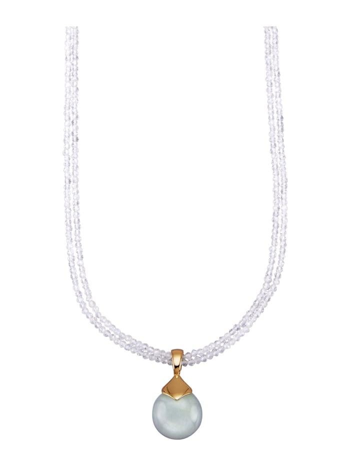 Amara Pierres colorées Collier en pierres de lune avec pendentif en pierre de lune, Blanc