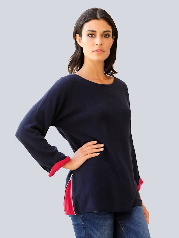 Alba Moda Pullover mit seitlichem Zipper, Marineblau/Rot