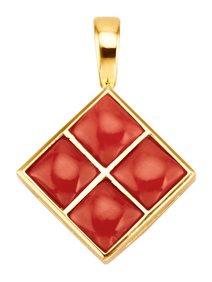 Diemer Farbstein Clip-Anhänger mit Korallen, Rot
