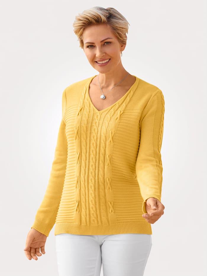 MONA Pullover mit Zopf und Strukturstrick, Gelb