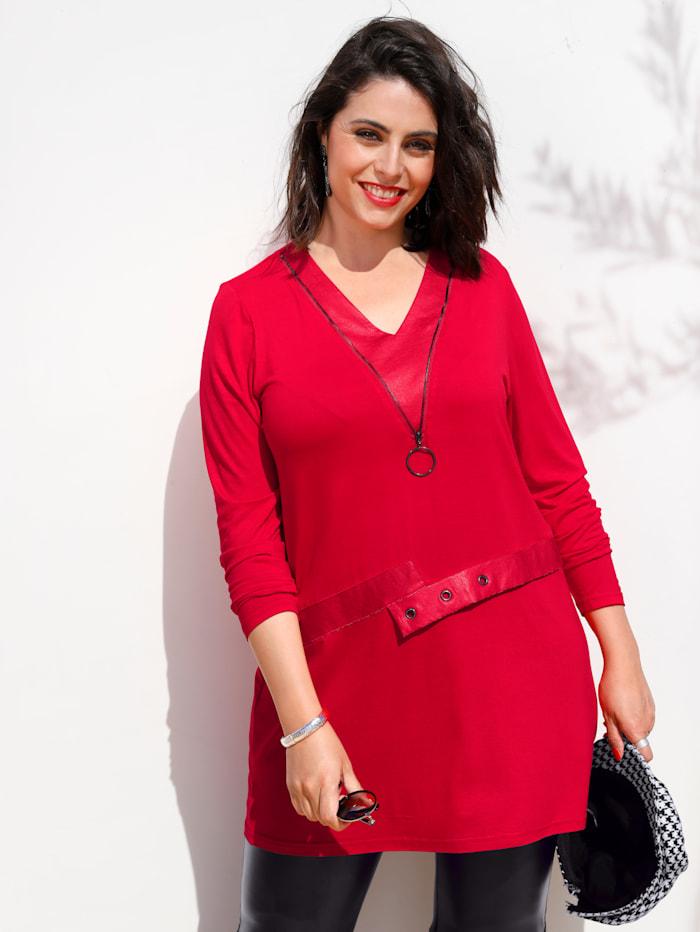 MIAMODA Longshirt mit Lederimitat-Elementen, Rot