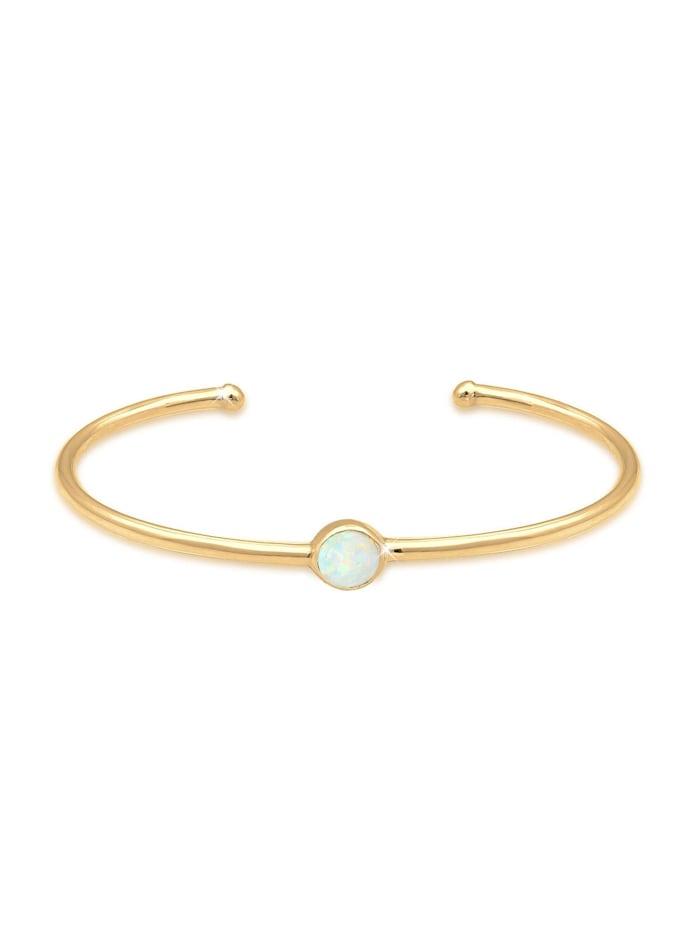 Elli Armband Armreif Bangle Synthetischer Opal Trend 925 Silber, Gold