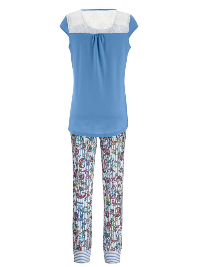 Pyjama met bloemenkant
