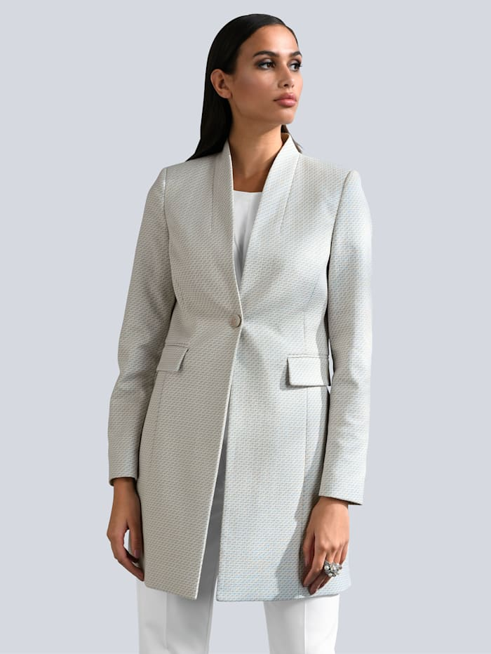 Alba Moda Blazer in modischer Longform, Off-white/Creme-Weiß