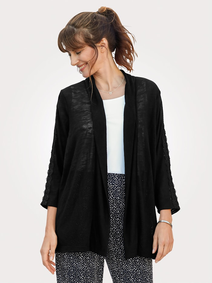 MONA Jacket with lace detailing on the sleeves, Black
