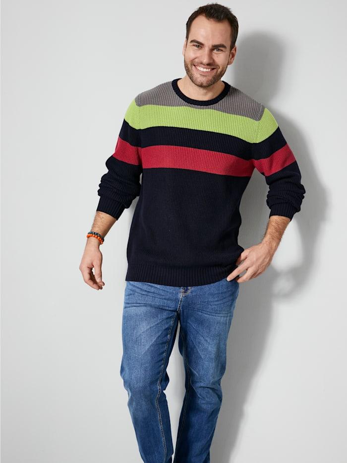 Men Plus Pullover mit Blockstreifendesign, Marineblau/Hellgrün/Rot/Grau