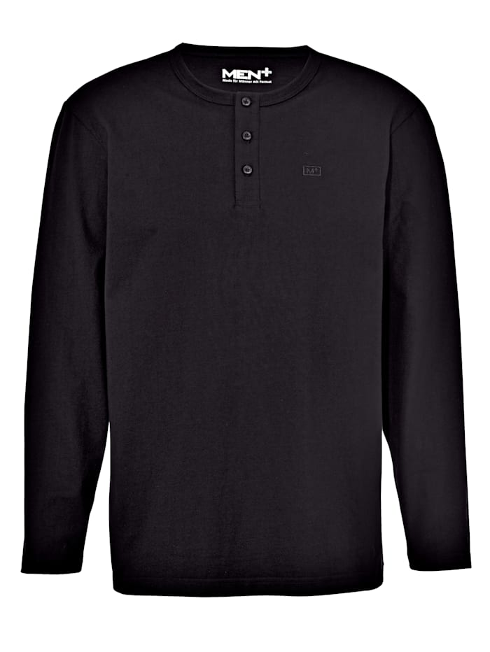 Men Plus T-shirt à patte de boutonnage, Noir