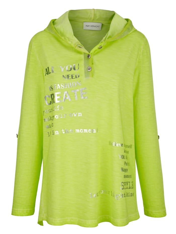 AMY VERMONT Shirt mit Druck im Vorderteil, Neongrün