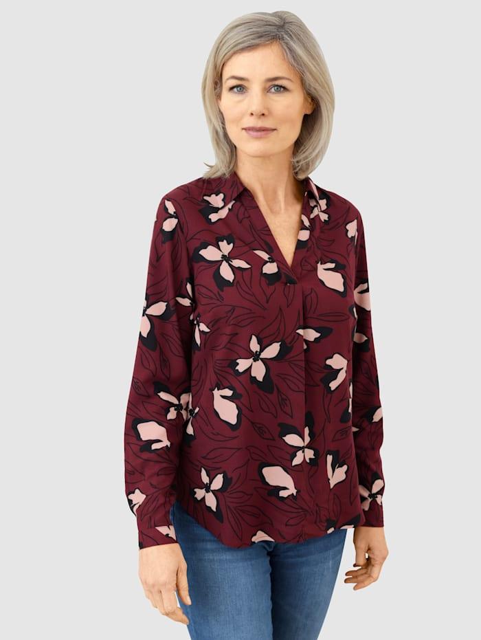Dress In Bluse mit schönem Blumendruck, Brombeere
