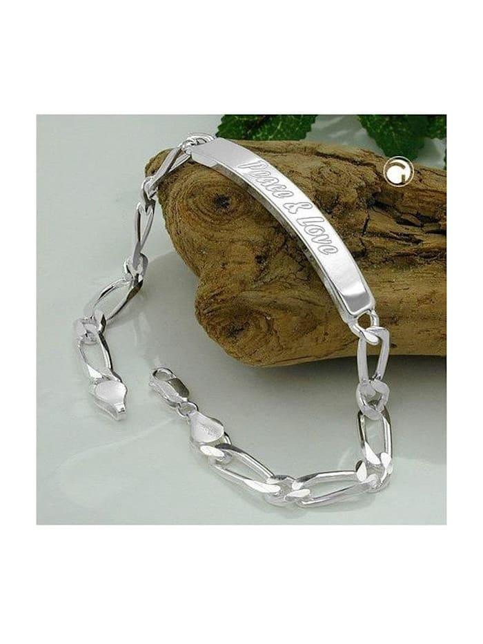 Gallay Schmuckgroßhandel Schildarmband 6,5x2mm Figarokette Gravurplatte 45x7mm Peace & Love glänzend Silber 925 21cm, silber
