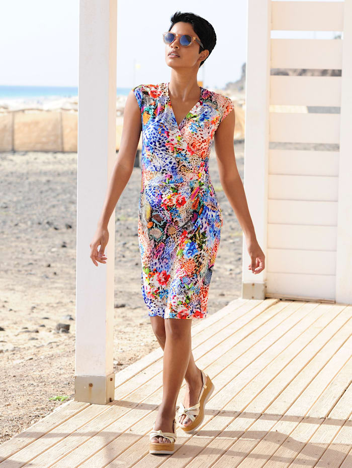 Alba Moda Strandkleid in sommerlichen Farben, Rot-Bunt