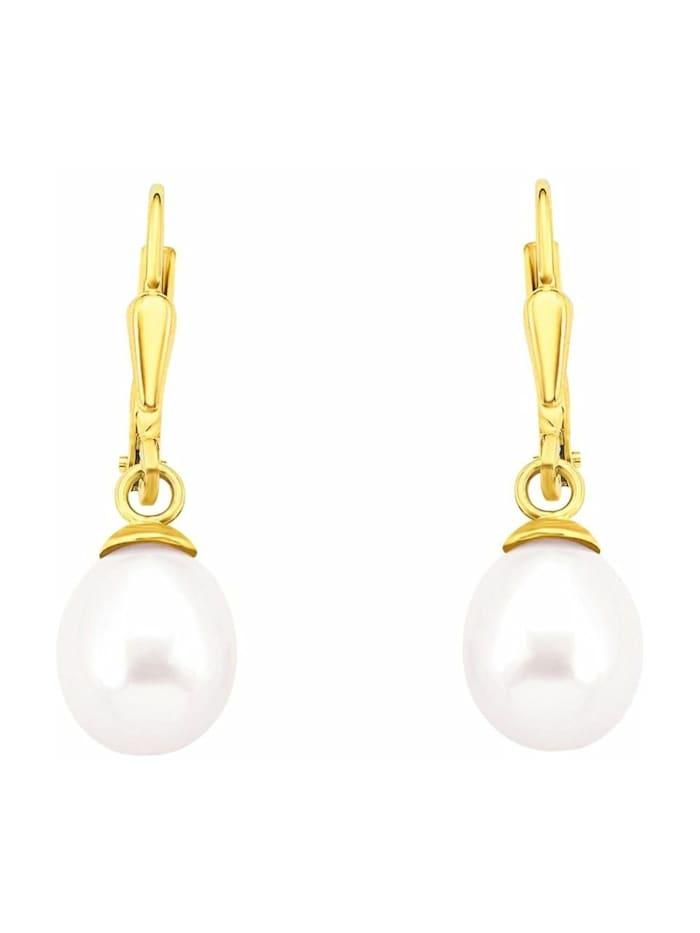 Ohrhänger für Damen, Gold 375, Süßwasserzuchtperle