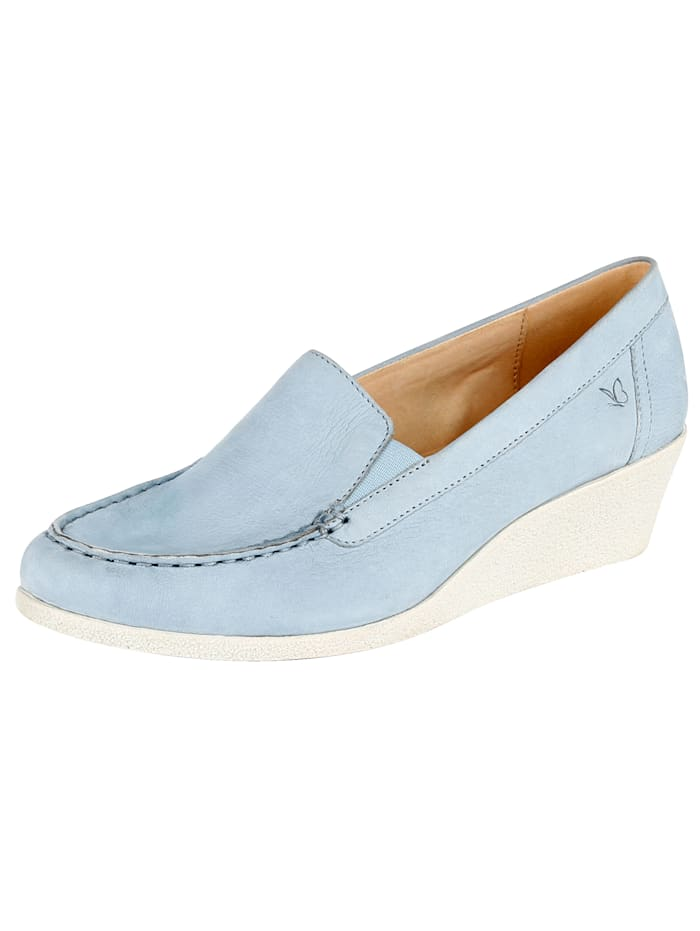 Caprice Wedge court shoes made of high-quality leather, Light Blue