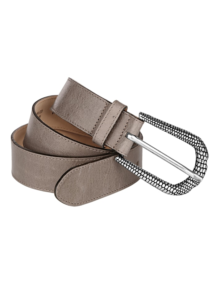 MONA Leather belt with embossed buckle, Taupe