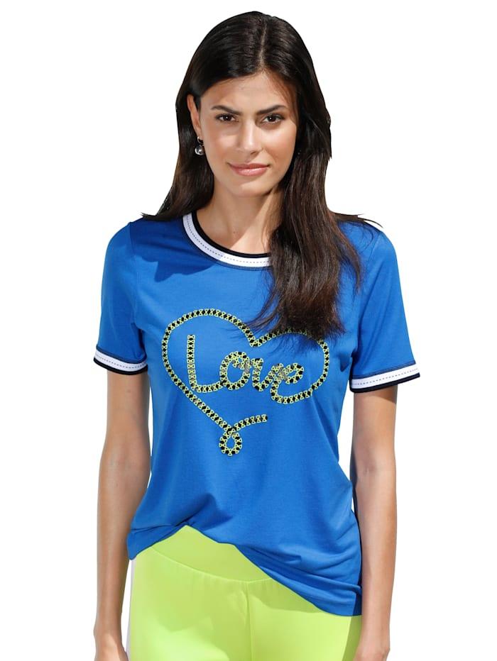 AMY VERMONT Shirt mit dekorativem Aufdruck im Vorderteil, Blau/Grün