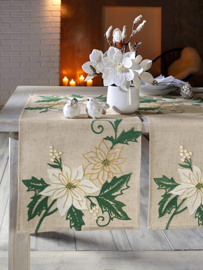 Webschatz Linge de table 'Edna', Écru/vert