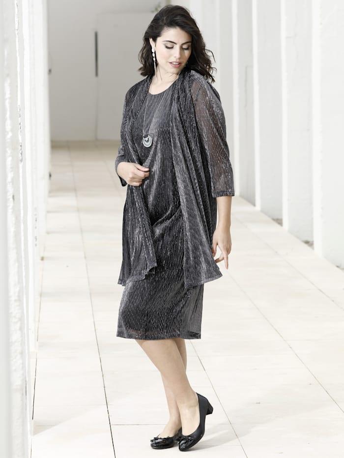 m. collection Kleid mit 2-in-1 Optik, Silbergrau