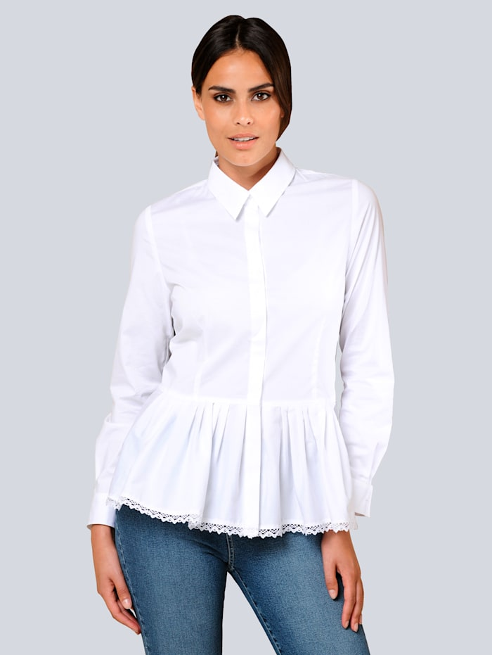 Alba Moda Blouse à plis placés, Blanc