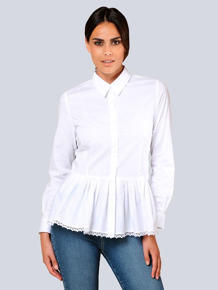 Alba Moda Blouse met aangestikte rand met plooitjes, Wit