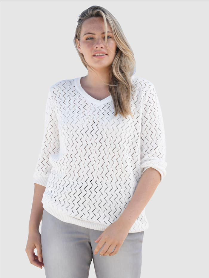 basically you Pullover mit Strickmuster, Off-white