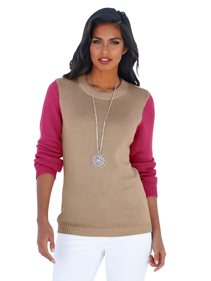AMY VERMONT Pullover in Color-Blocking, Beige/Pink/Off-white