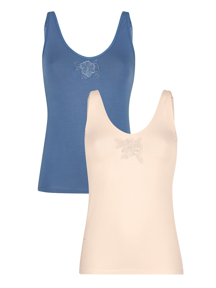 Blue Moon 2 pack of vest tops with lace, Smoke Blue/Salmon Pink