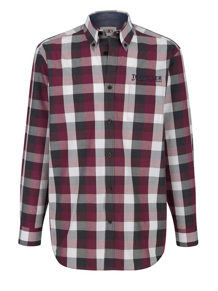 Roger Kent Overhemd met contrastborduursel, Bordeaux/Antraciet