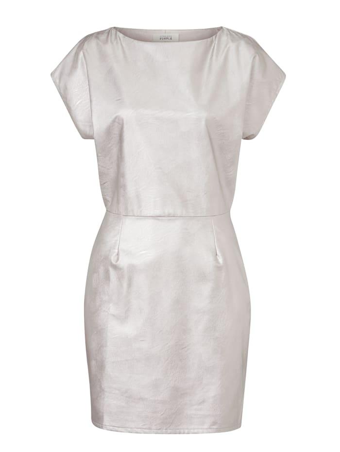 CONLEYS PURPLE Kunstlederkleid, Silberfarben