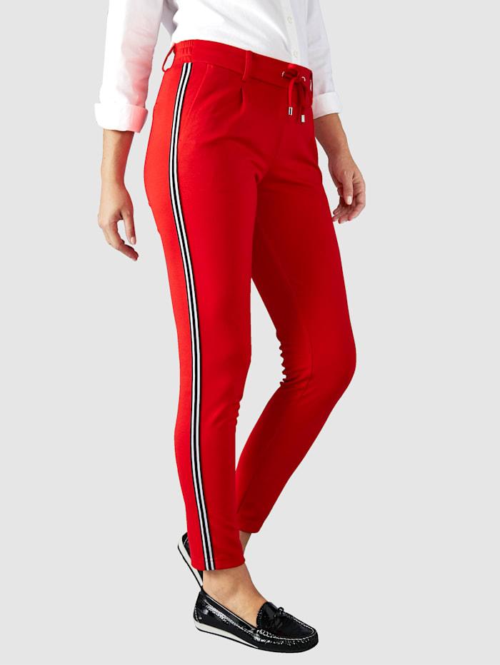Paola Byxor i skön jersey och med revärer, Röd