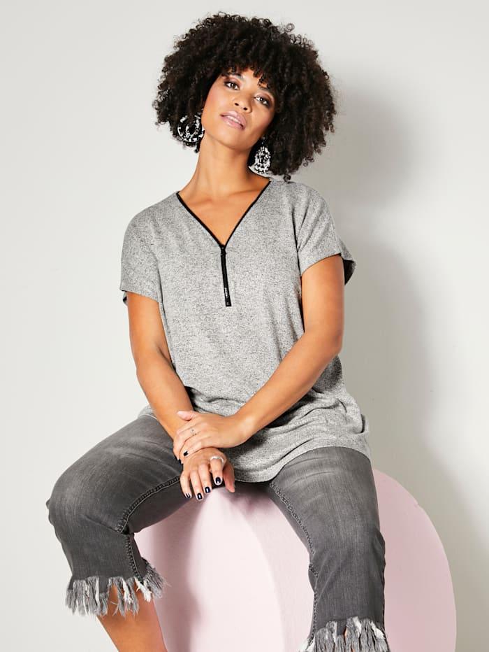 Angel of Style T-shirt long avec glissière à l'encolure, Noir/Blanc