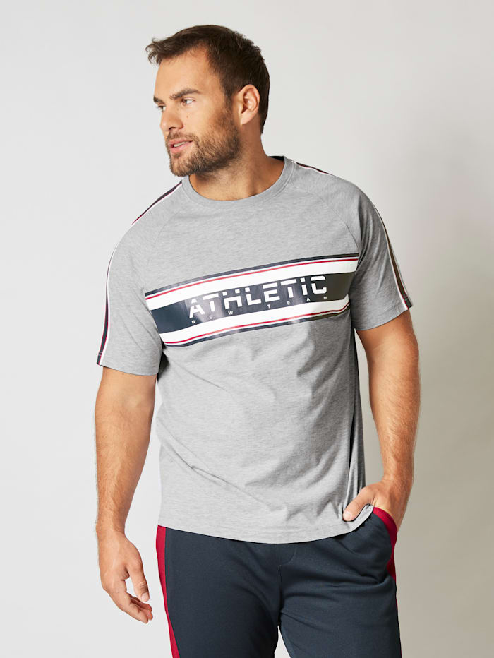 Men Plus T-Shirt mit Raglanärmeln, Hellgrau