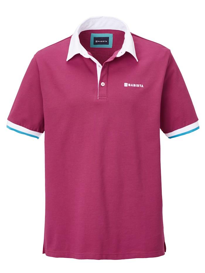 Poloshirt met contrastkleurige zoomboord