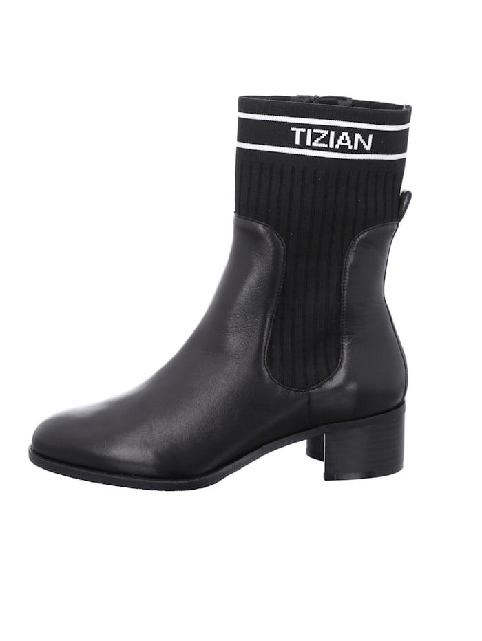 Tizian Damen-Stiefelette Bristol 06, schwarz-weiss