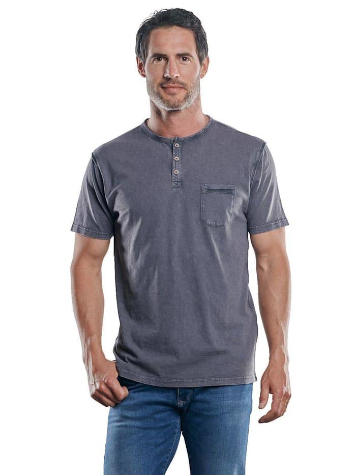 Engbers Frisch gefärbtes Henley T-Shirt, Granitgrau