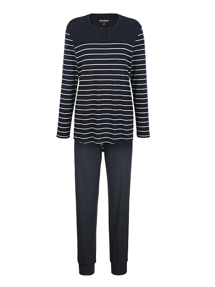Schiesser Pyjama avec courte patte de boutonnage, Marine/Blanc