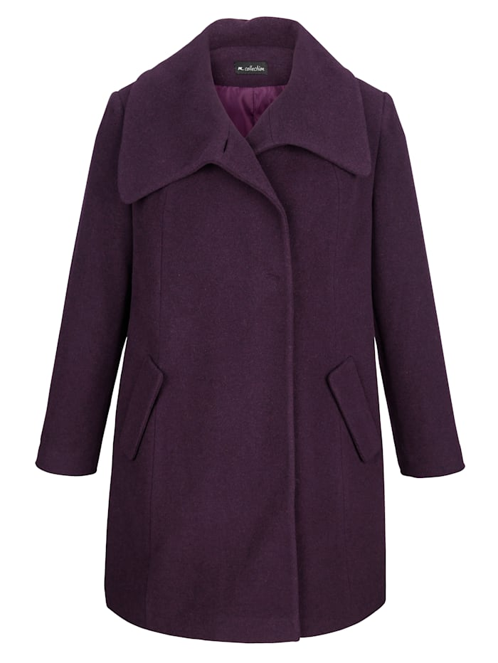Manteau en laine mélangée à ravissant col rabattu