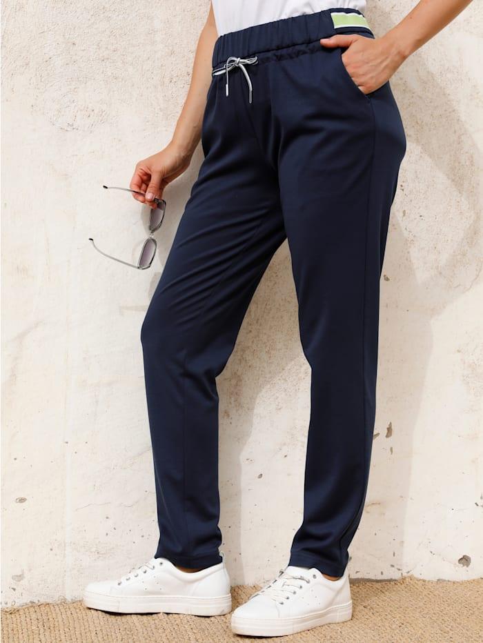 MIAMODA Nohavice s elastickou gumovou pásovkou, Námornícka