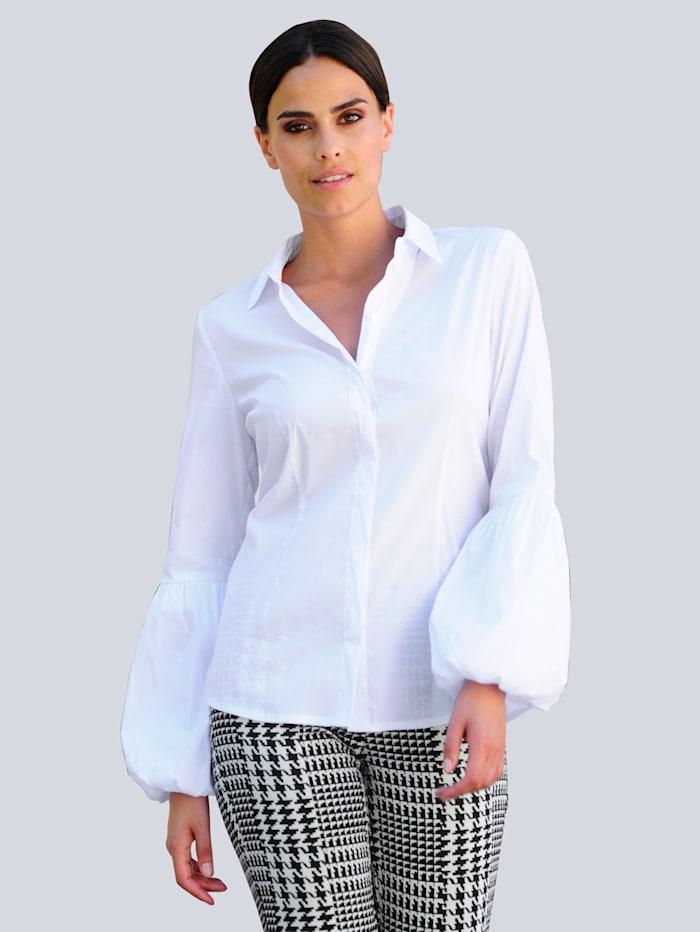 Alba Moda Blúzka s módnym širokým rukávovým strihom, Biela