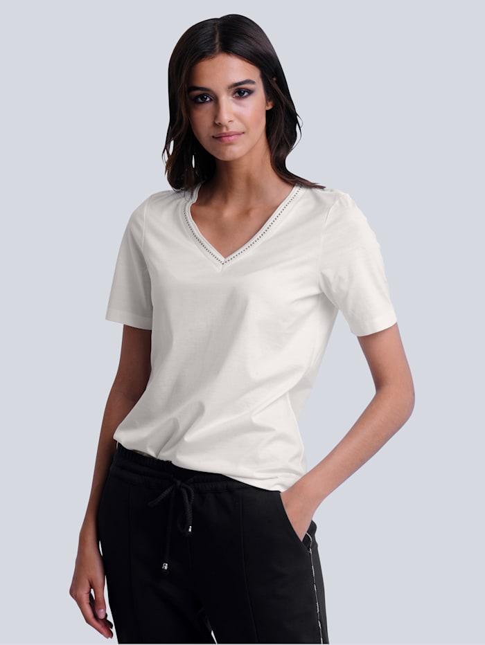 Alba Moda Shirt aus reiner Baumwolle, Off-white/Marineblau