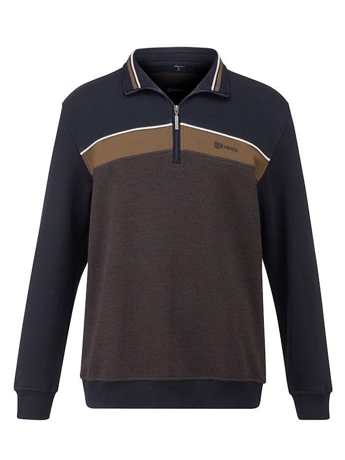 BABISTA Sweatshirt mit feiner Jacquard-Struktur, Marineblau/Braun