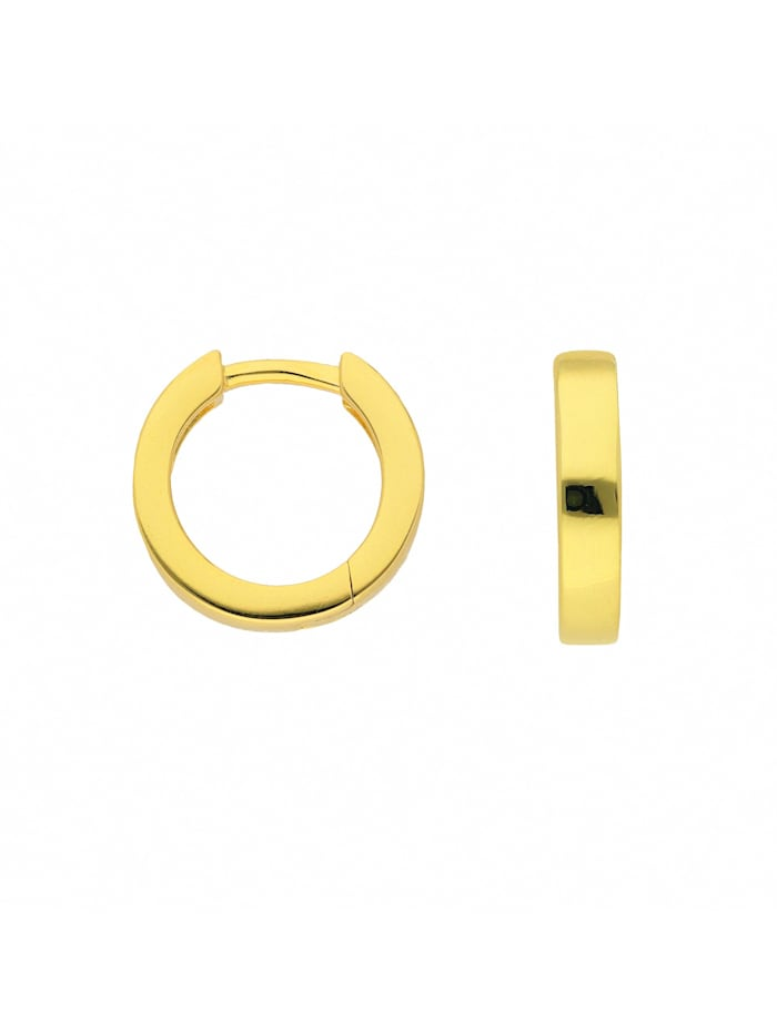 1001 Diamonds Damen Silberschmuck 925 Silber Ohrringe / Creolen Ø 12,8 mm, vergoldet
